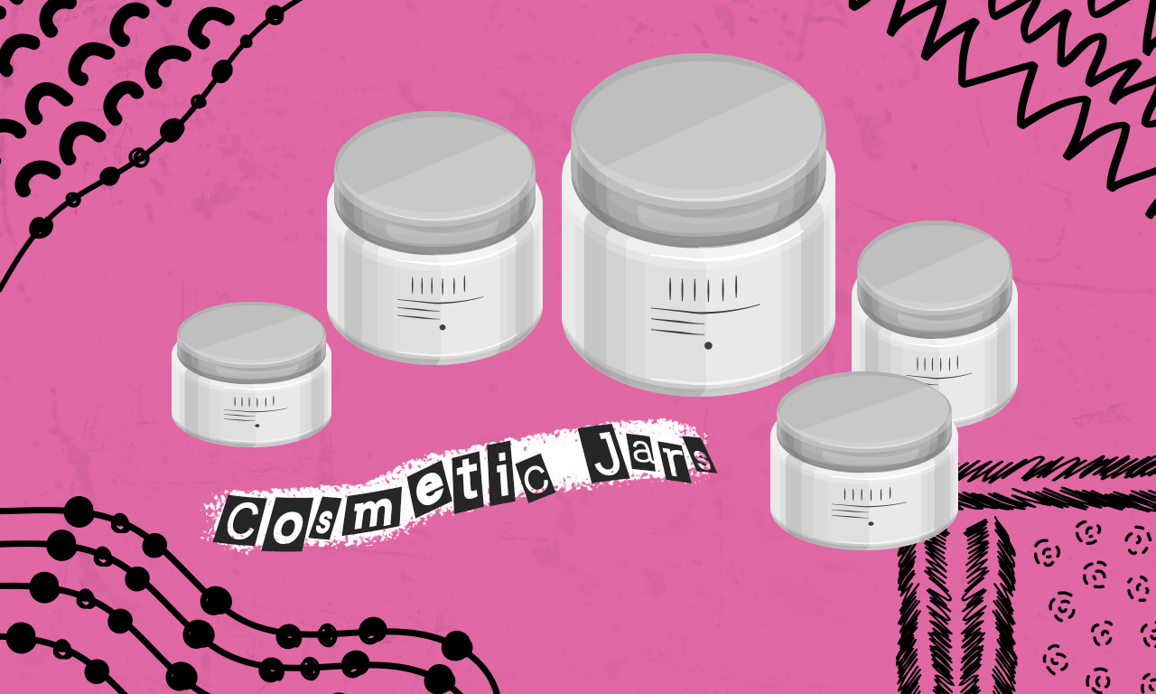 Graphics of plastic cosmetic jars on a pink background