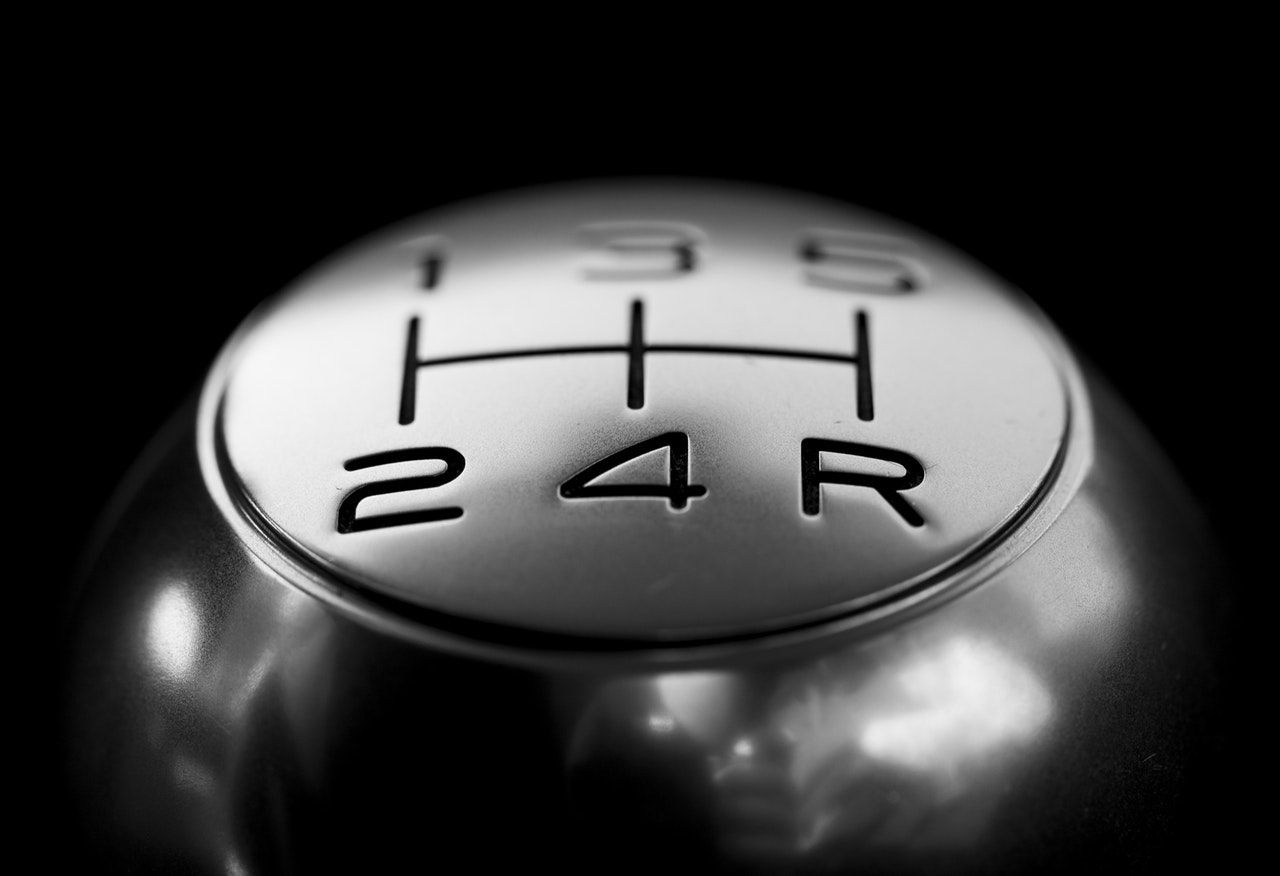 close-up shot of a plastic car shift knob