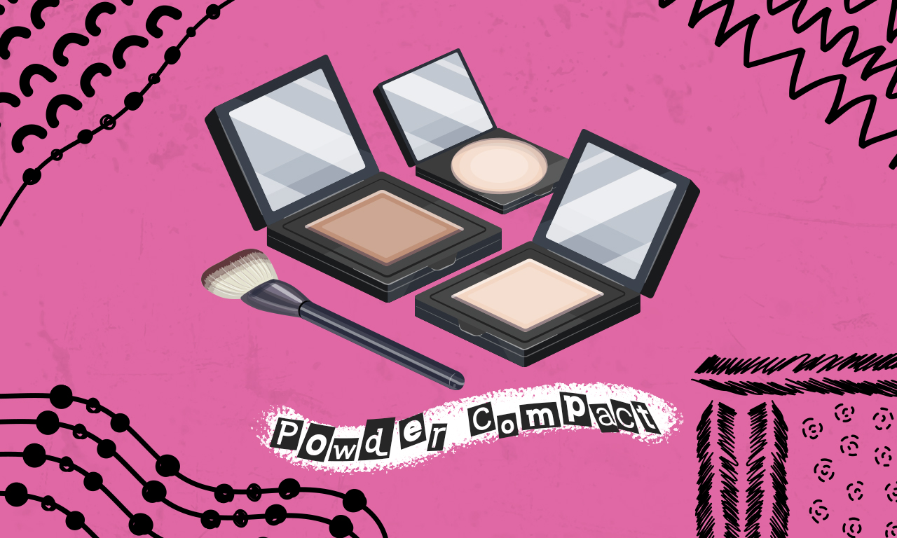 Graphics of plastic cosmetic powder compact on a pink background