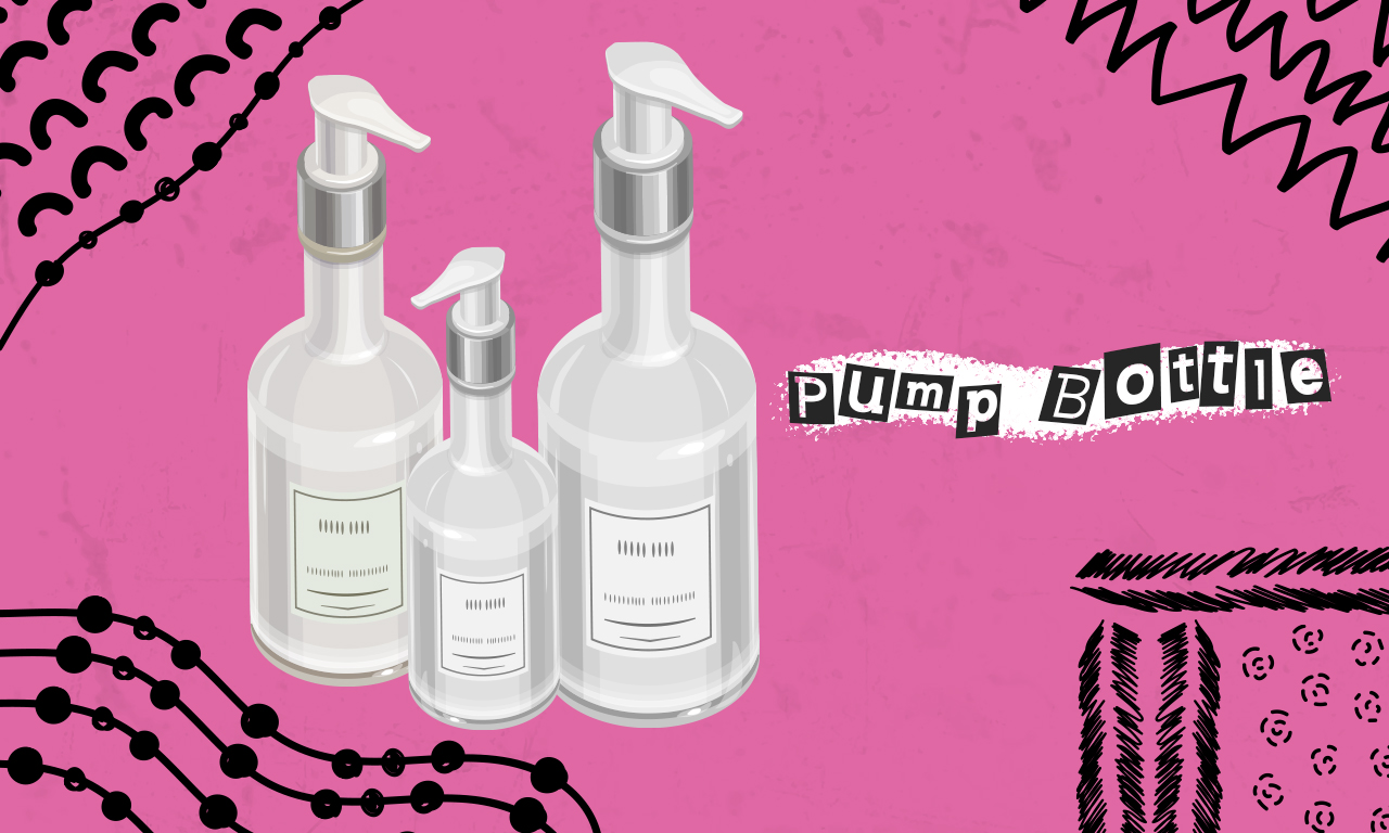 Graphics of plastic cosmetic pump bottles on a pink background