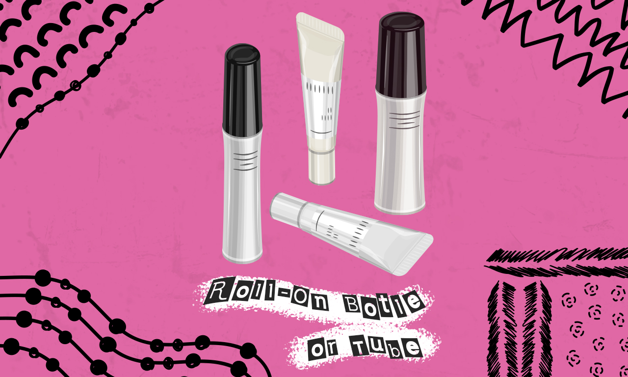 Graphics of plastic cosmetic roll-on bottles and tubes on a pink background