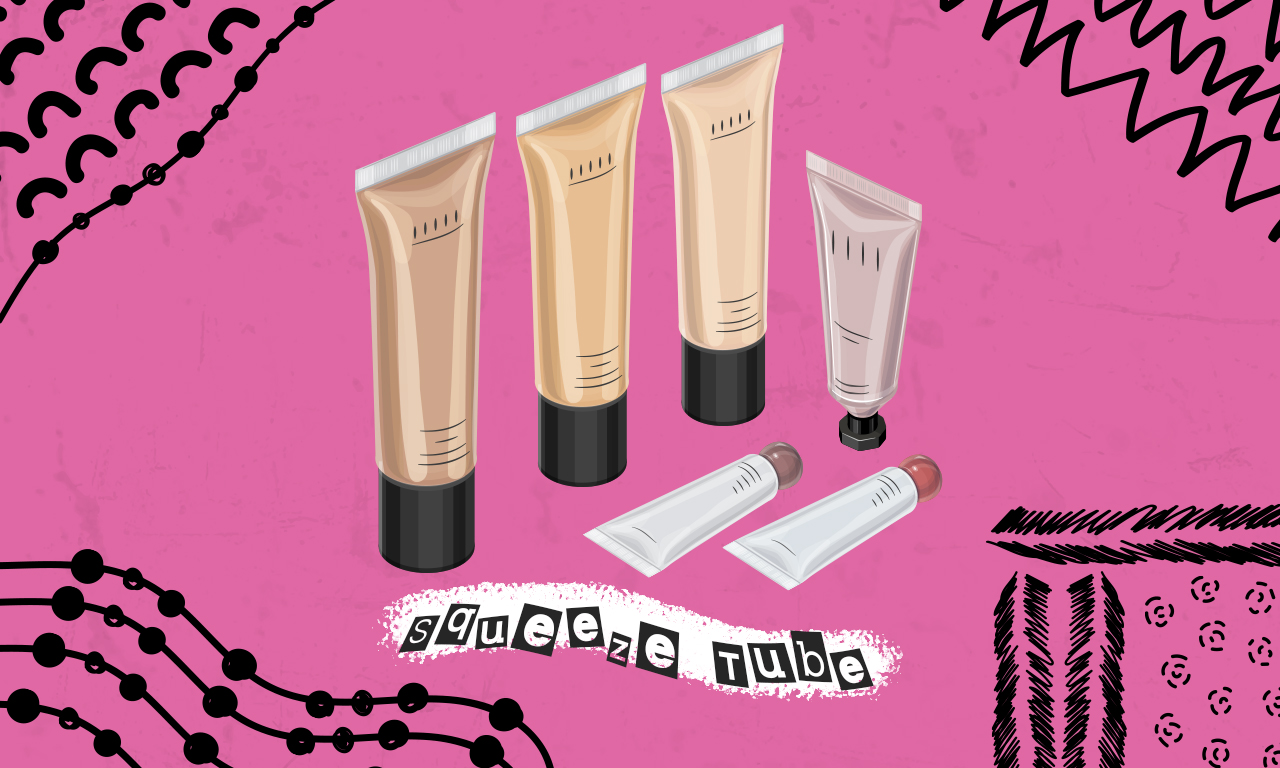 Graphics of plastic cosmetic squeeze tubes on a pink background
