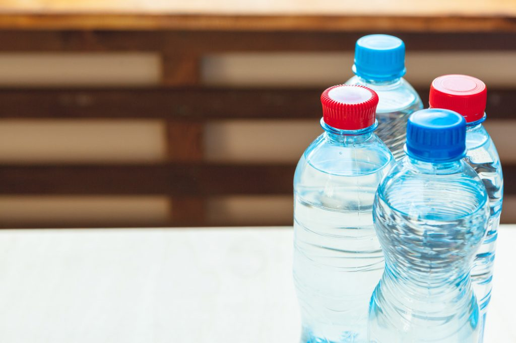 Different types of plastic water bottles
