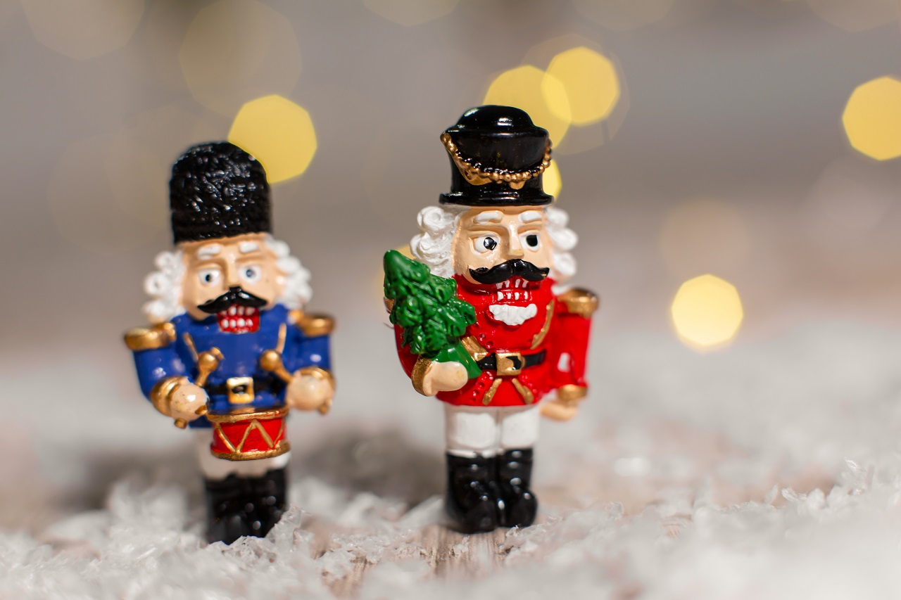 Close up of two miniature nutcrackers