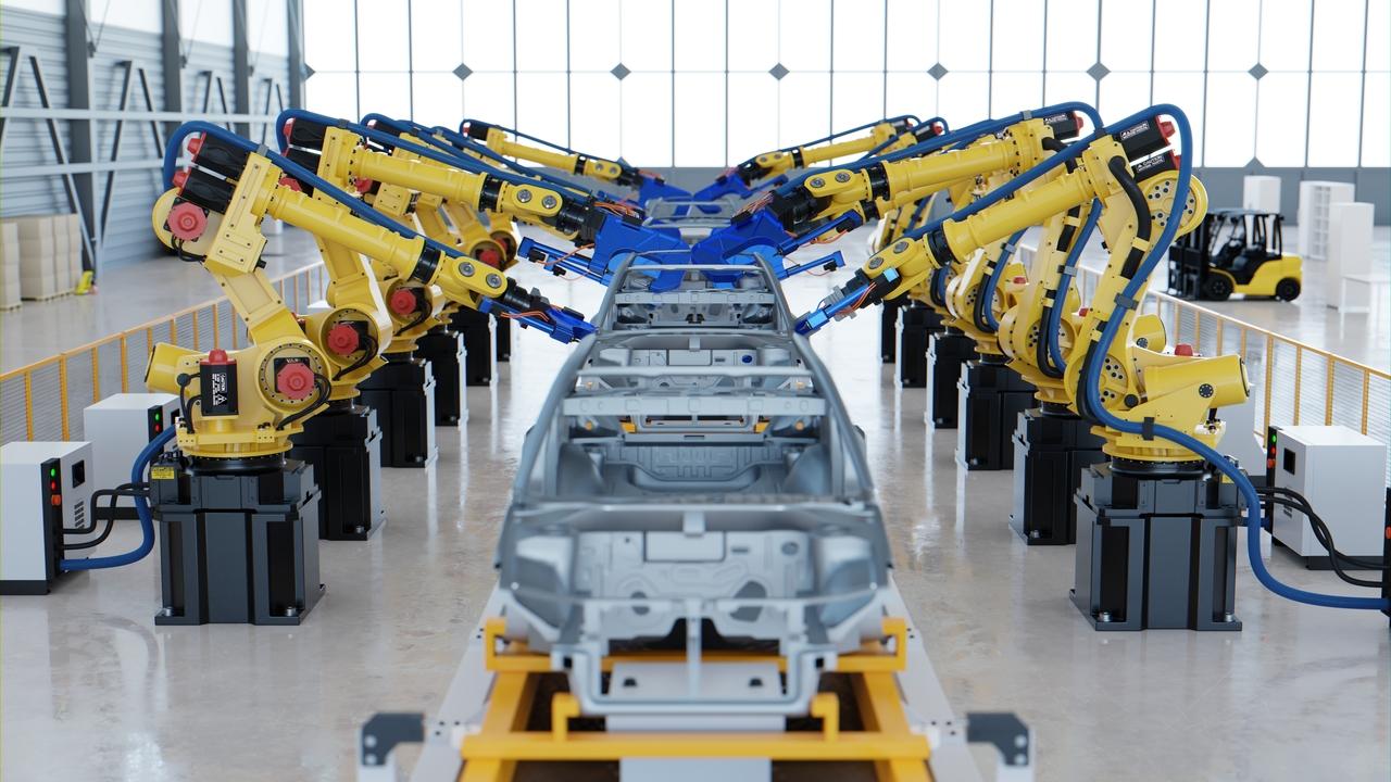 A robotic car assembly line