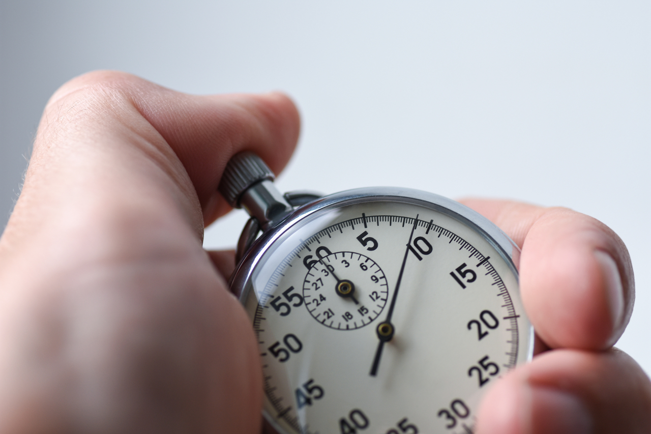 A stopwatch measuring lead time