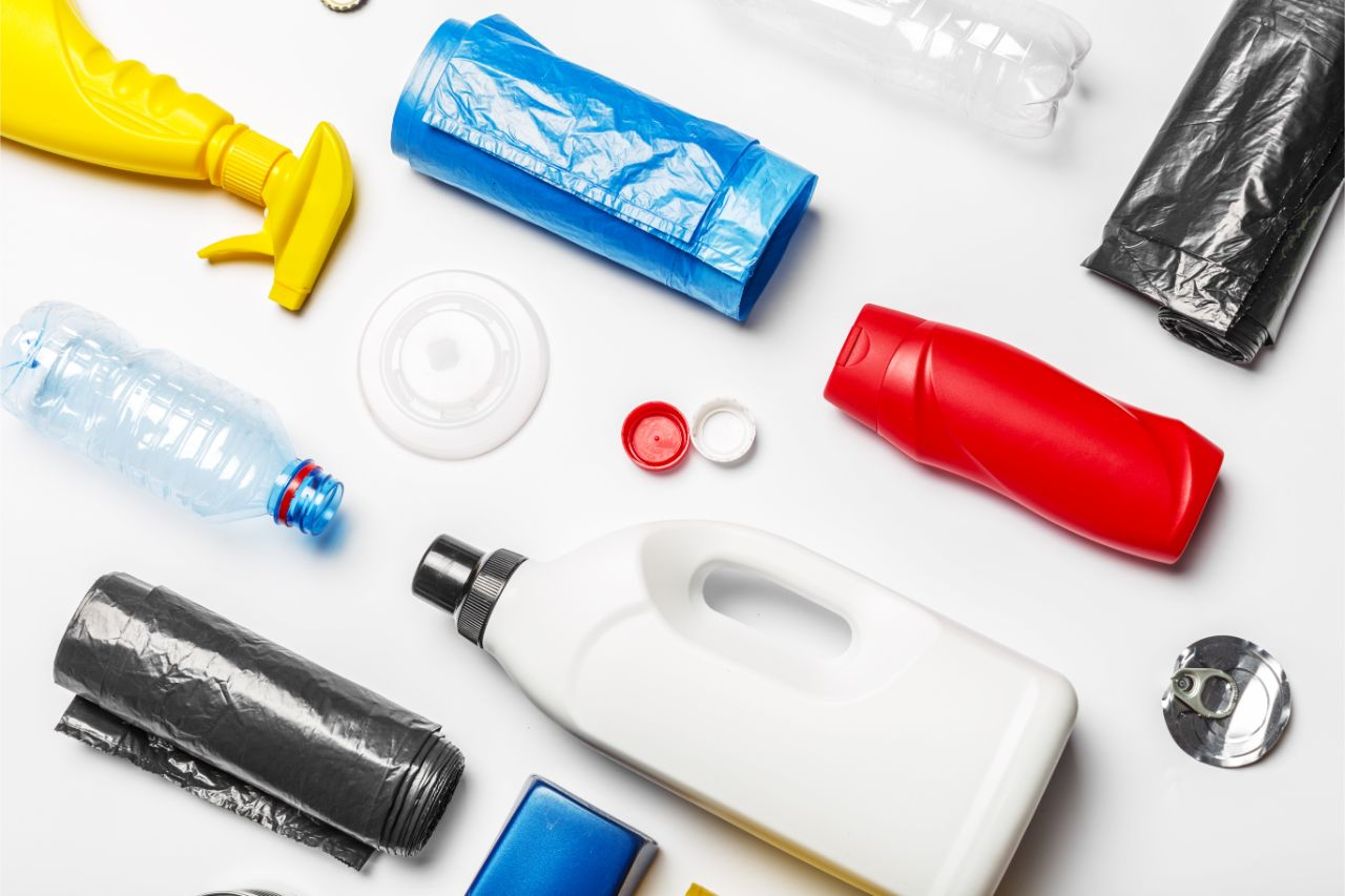 A flatlay of the different tpyes of plastic packaging