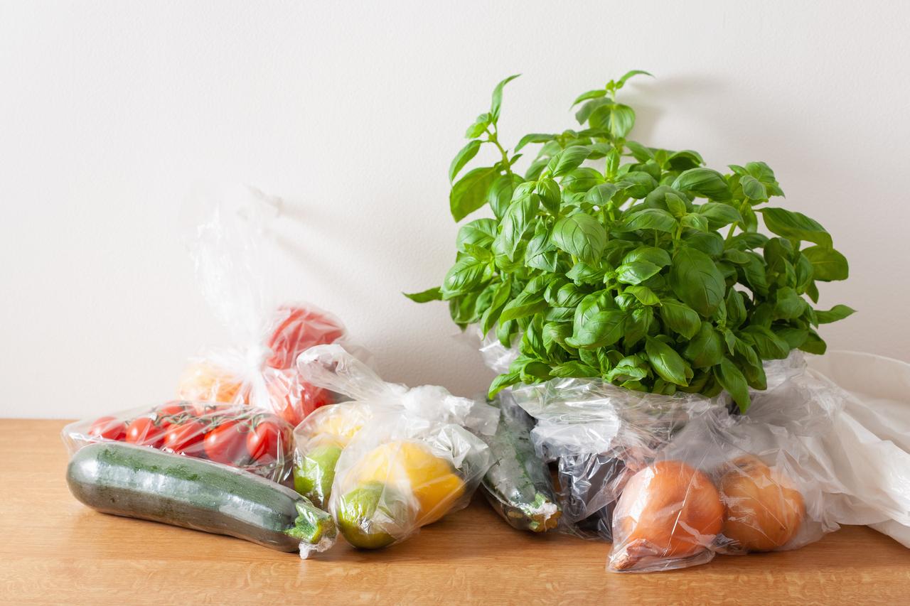 Groceries on plastic